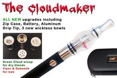 Cloudmaker - the ultimate glass globe vape pen with custom funnel bowls for herb and wax
