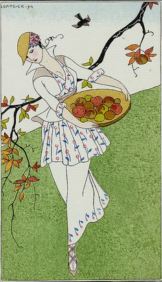 George Barbier (1882-1932) - French Art Deco Fashion Illustrator - Toilette de taffetas.