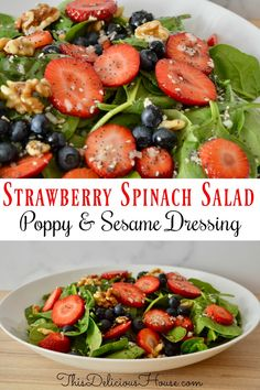 Sweet and tangy Strawberry Blueberry Spinach Salad with crunchy walnuts and a delicious poppy sesame seed dressing. Sweet and tangy Strawberry Blueberry Spinach Salad with crunchy walnuts and a delicious poppy sesame seed dressing. Spinach Salad Recipes, Spinach Strawberry Salad, Strawberry Blueberry, Chicken Salad Recipes, Healthy Salad Recipes, Healthy Dishes, Healthy Chicken, Healthy Food, Dinner Salads