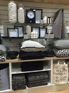 Retail store display of black & white homewares.Visual Merchandising. VM. Housewares / Linens display.