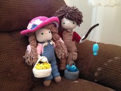 My Crochet Doll, Amigurumi Doll, Crochet Doll, Ashers and Jerrbear living of the land. Made for my granddaughter, Ashlee's birthday.☆