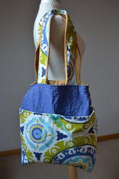 Blue print suzani cotton tote shopper bag by margoshka on Etsy, $29.00