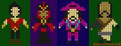 Disney villains characters (Gaston, Jafar, Governor Ratcliffe, Shan Yu ) perler bead pattern