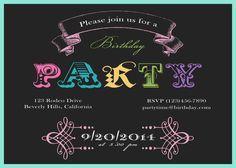 Birthday vintage invitation chalkboard typography by CupidDesigns, $20.00