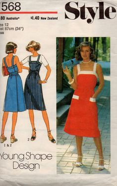 af0937856dc Wrap Around Pinafore Dress Pattern Style 1568 Vintage Sewing Pattern Bust  34 Summer Sun Dress