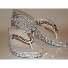 Rhinestone Bling Flip Flop Wedge Sandals Bridal Wedding ($45) found on Polyvore