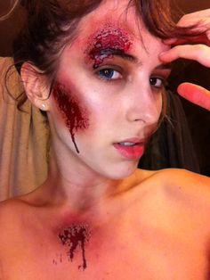 An easy costume. Semi pretty zombie without the harsh prosthetics at the end of the night. Diy makeup