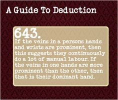 Guide to deduction - hand veins