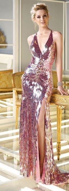 Pink sequin glamour gown >> 'Claudine' Mirror Oblong Sequin Gown