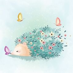 Spring hedgehog and butterflies Vector Watercolor Animals, Floral Watercolor, Cute Illustration, Character Illustration, Cute Drawings, Animal Drawings, Art Papillon, Pink And White Background, Butterfly Art