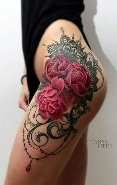 Watercolor Rose Thigh Tattoo Ideas at MyBodiArt.com - Black Lace Upper Leg Tatt