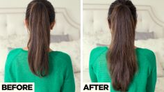 Add volume and length to your ponytail with one simple trick! Click to learn how to create this hairstyle. #LuxyHairExtensions