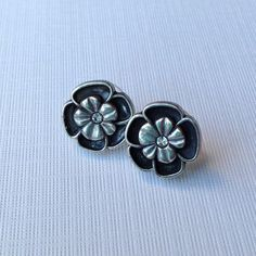 Flower Earrings with Crystal Center by AuntieBeths on Etsy