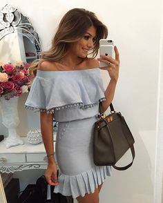 Cheap dress little, Buy Quality dress surf directly from China dress up Suppliers: Dear Lover Ruffles slash neck Sexy Party Office Blue Pom Pom Trim Overlay Off Shoulder Mini Dress Vestidos Tube New 2016 Casual Summer Dresses, Summer Dresses For Women, Sexy Dresses, Short Dresses, Summer Outfits, Pleated Dresses, Mini Vestidos, Boho Dress, Dress To Impress