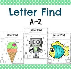 Adorable Letter Find Worksheets for Preschool and Kindergarten classrooms, homeschools, and kids who enjoy cute educational fun.