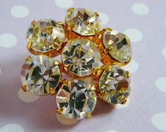 Vintage Czech Rhinestone Button perfect for #vintage #bride #wedding dibabeads