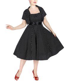 84a3f578e81 HEARTS   ROSES LONDON Black   White Dot A-Line Dress   Bolero - Women