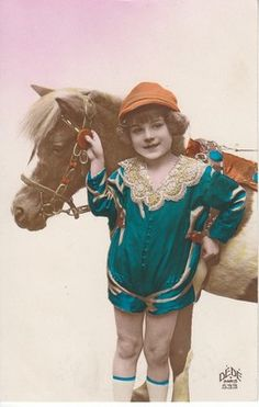 cute little summer girl with PONY horse vintage photo postcard 1920's