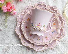 Vintage tea cup set floral porcelain Slav porcelain pink  teacup and saucer