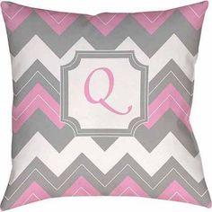 Thumbprintz Chevron Monogram Decorative Pillow, Pink