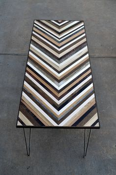 Chevron Desk with Hairpin legs - Wood Table - Reclaimed Wood table.