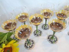 Hand Painted Personalized Sunflower Wine Glasses  by SAM Designs @ www.samdesigns.net, $20.00
