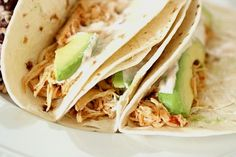 Crockpot Chicken Tacos and Chipotle Cream