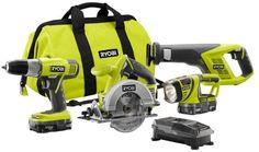 Ryobi ONE+ 18-Volt Lithium-Ion Combo Power Tool Kit Saws/Drill Light (4-Piece) #RYOBITechtronicIndustriesCoLtd
