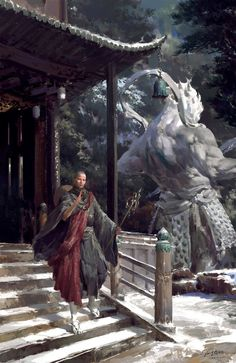 Asian art - digital paintings  Down the mountain by yangqi917.deviantart.com on @DeviantArt