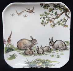 Superb English Aesthetic Movement Square Plate ~ RABBITS 1880 from aesthetictransferware on Ruby Lane
