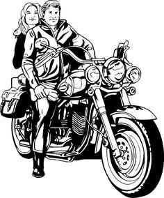 Billedresultat for COUPLE on a harley davidson illustration