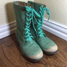 Steve Madden troopa combat boot green leather Steve Madden troopa combat boots leather Green/teal 7.5 Steve Madden Shoes Combat & Moto Boots