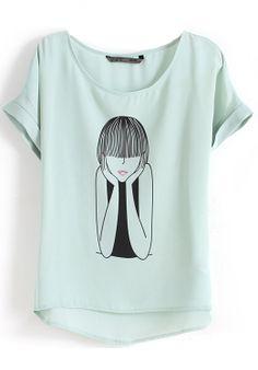 Light Green Short Sleeve Cartoon Girl Print T-Shirt - Sheinside.com
