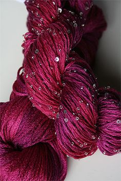 rtyarns silk pearl with beads and sequins in H1 Silver Hot Pinks