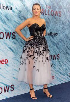 Blake Lively in a custom Carolina Herrera dress and Louboutin heels