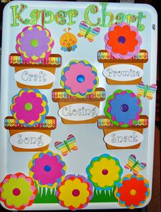 Daisy Girl Scout Kaper Chart - made using my Silhouette Cameo. Flowers cut from fun foam.