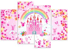Enchanted Fairy Castle Flowers & Butterfly - 4 Panel Canvas Art Print Picture - Overall Size x - Designed by Rubybloom Designs Canvas Pictures, Print Pictures, Girls Bedroom, Bedroom Ideas, Enchanted Fairies, Artwork Design, Canvas Art Prints, Wall Stickers, Original Artwork