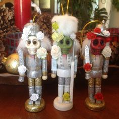 Set of Three. Day of the Dead Christmas/Holiday by HoopyChoo Christmas Holidays, Christmas Crafts, Nutcracker Ornaments, Nutcrackers, Day Of The Dead, Third, Wedding Day, Gifts, Etsy