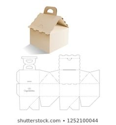 Candy model box of house. Retail Box with Die-cut Layout. Vector Illustration of Box. Diy Gift Box, Paper Gift Box, Diy Box, Cool Paper Crafts, Cardboard Box Crafts, Creative Box, Creative Gift Wrapping, Model Box, Packaging Box