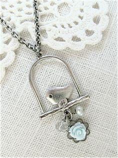 Antique Silver Bird Swing Necklace