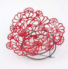 Camilla Luihn Brooch: Red Spring 2013 Lacquered copper, oxidized silver