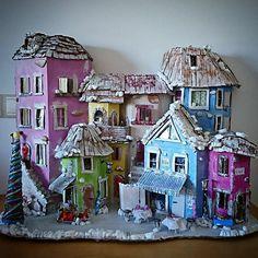 Christmas Sale, Christmas Town, Cardboard Art, #toys @EtsyMktgTool http://etsy.me/2BEJJcr #christmastown #cardboardart #christmasdecor