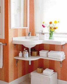 Good Ideas For You   Organize Your Bathroom. Corner sink.
