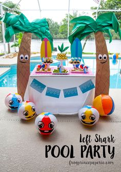 Getting ready for summer parties and need some unique inspiration? How about a few pool party ideas that get down with left shark and his friends for some cartoony, beachy pool fun. Whip these ideas up for a birthday pool party or get together for an event that will melt your popsicle!