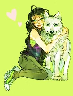 Girl and Dog, illustration / Ragazza e cane, illustrazione - Art by Jade Harley