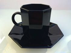 Arcoroc Octime French black glass cup & saucer set of 4 Darkest Black Color, Cup And Saucer Set, Black Glass, Coffee Maker, French, Tea, Vintage, Coffee Maker Machine, Coffeemaker