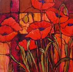 Seven Poppies R by Carol Nelson mixed media ~ 12 x 12