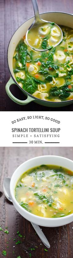 and satisfying, this spinach tortellini soup recipe is ready in half an hour to warm you up without weighing you down.Simple and satisfying, this spinach tortellini soup recipe is ready in half an hour to warm you up without weighing you down. Spinach Tortellini Soup, Spinach Chicken Soup, Vegan Tortellini, Think Food, Veggie Recipes, Easy Healthy Soup Recipes, Diet Recipes, Recipes For Soup, Recipes Dinner