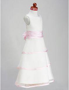 A-line Princess Scoop Floor-length Organza Satin Flower Girl Dress - USD $ 79.99