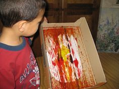 Marble Paint a Construction Paper Flame for Fire Safety